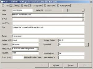 Bibliothekssoftware   FLEISCHMANN   Maske - Medien