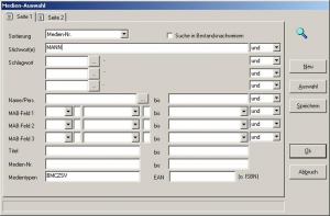 Bibliothekssoftware   FLEISCHMANN   Maske - Auswahl