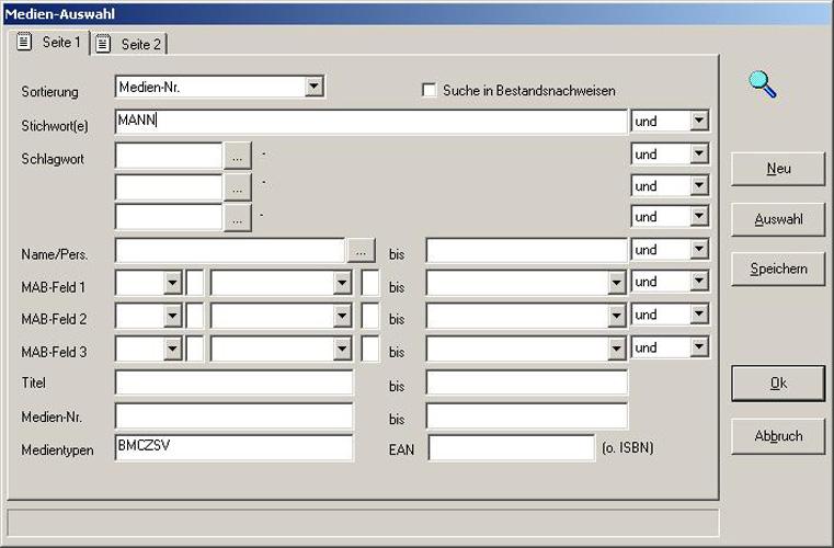 Software Bibliothek | FLEISCHMANN | Maske - Auswahl